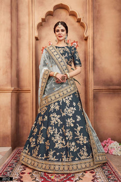 Bollywood Style Lehenga in Pretty Rama Thread With Sequence Work