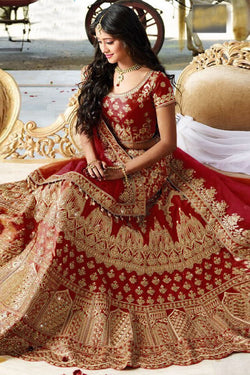 Shop Red Silk Embroidered Lehenga Choli Online in India, USA - Bridal Ethnic
