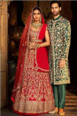 Red Ruby Silk Embroidered Bridal Lehenga Choli from Sabyasachi Designs