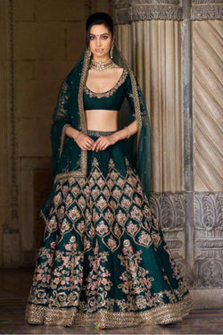 Green Ruby Silk Wedding Wear Lehenga in Bollywood Style from Sabyasachi