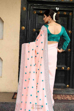 Latest Trendy Reception Wear Saree in Zoya Silk with Pum work