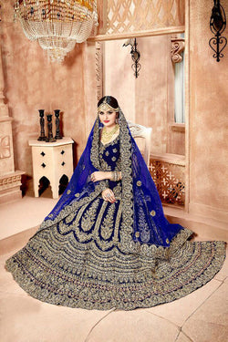 Shop Blue Velvet Bridal Lehenga Choli Online in India, USA - Bridal Ethnic
