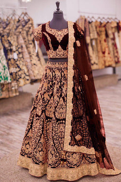 Shop Brown Embroidered Bridal Lehenga Online in India, USA - Bridal Ethnic