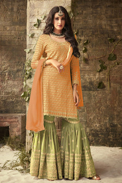 Shop Brown and Olive Green Sharara Suit Online in India, USA - Bridal Ethnic