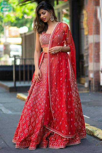 10d4e588df Crimson Silk Bollywood Lehenga Choli Crimson Silk Bollywood Lehenga Choli
