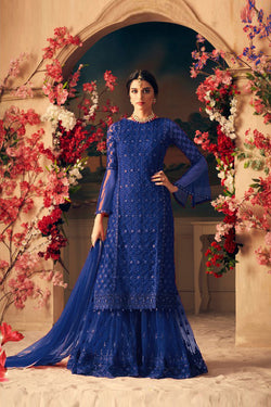 Shop Designer Blue Sharara Suit Design for Women Online in India, USA from Bridal Ethnic
