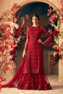 Shop Crimson Red Sharara Suit Design for Women Online in India, USA from Bridal Ethnic
