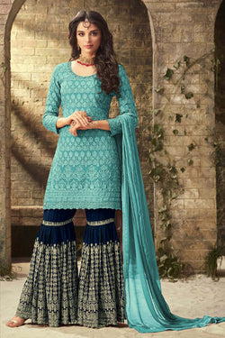 Shop Cyan Blue Designer Sharara Suit Online in India, USA - Bridal Ethnic