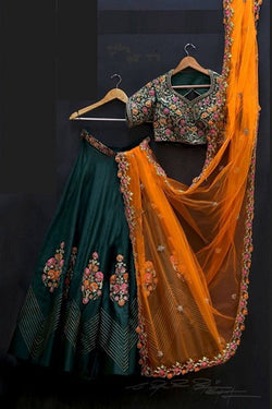 Shop Green and Yellow Silk Party Wear Lehenga Choli Online in India, USA - Bridal Ethnic