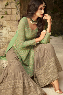 Front Neck Pattern of Green and Grey Embroidered Sharara Suit Design Online - Bridal Ethnic