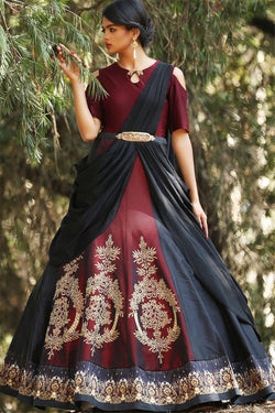 Shop Designer Maroon and Black Anarkali Gown for Women Online - Bridal Ethnic