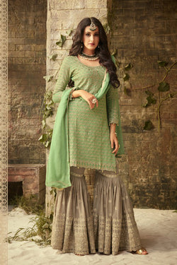 Shop Green and Grey Embroidered Sharara Suit Online in India, USA - Bridal Ethnic