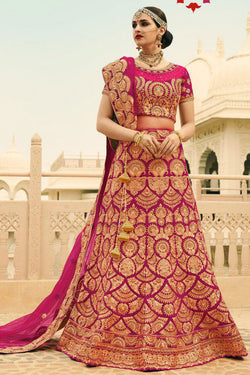 Shop Hot Pink Silk Lehenga Choli Online in India, USA - Bridal Ethnic