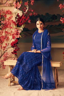 Latest Designer Blue Sharara Lehenga Design Online in India, USA - Bridal Ethnic