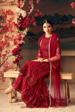 Latest Crimson Red Sharara Lehenga Design Online in India, USA - Bridal Ethnic