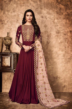 Shop Magenta Embroidered Anarkali Suit Online in India, USA - Bridal Ethnic
