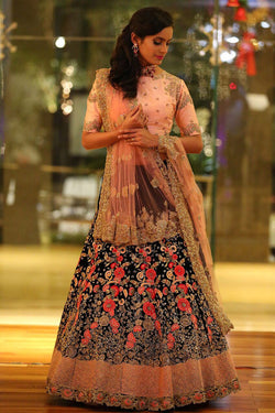 Shop Blue and Peach Silk Lehenga Choli Online in India, USA - Bridal Ethnic