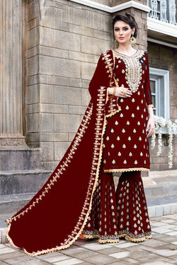 Shop Red Embrodiered Designer Sharara Suit Online in India, USA - Bridal Ethnic