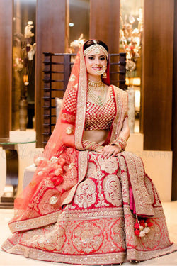 Shop Crimson Red Bridal Wedding Lehenga Choli Online in India, USA - Bridal Ethnic