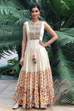 Shop White Embroidered Anarkali Gown Online in India, USA - Bridal Ethnic