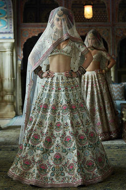 Shop Cream Silk Embroidered Lehenga Choli Online in India, USA - Bridal Ethnic