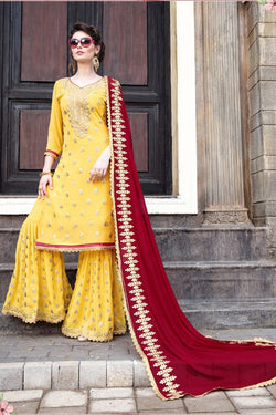 Shop Designer Yellow and Red Sharara Suit Online in India, USA - Bridal Ethnic