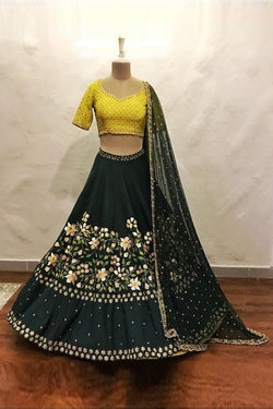 Shop Yellow and Green Party Wear Lehenga Online in India, USA - Bridal Ethnic