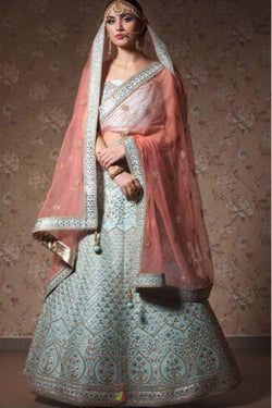 Sabyasachi Designed Party Wear Lehenga Choli in Sky Blue