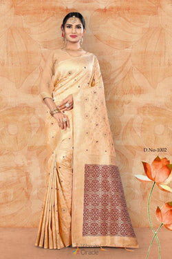 Festive Wear Casual Saree in Smashing Cream Weaving Work