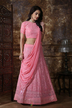 Georgette Bollywood Style Lehenga Choli in Smashing Dusty Pink
