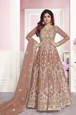 Party Wear gown in Lovely Peach Georgette Embroidered Work