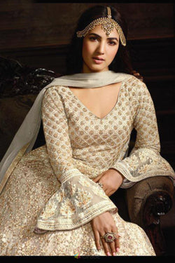 Indo Westrn Suit in Smashing Off White Sequence Embroidered Work