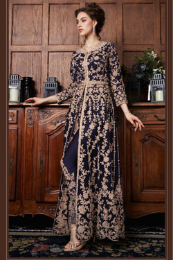 Wedding Function Wear Heavy Zari Cord Embroidery Work Indo Western Salwar Suit in Navy Blue