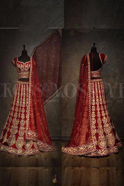 Spendid Red with Embroidery Zari with Diamond Work Designer Bridal Lehenga choli
