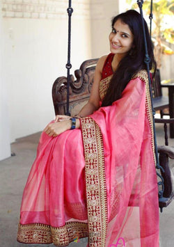 Party Wear Saree in Lovely Pink Georgette Thread Work