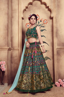 Trendy Bridal Lehenga Choli in Designer Dark Green Rubber Foil Work