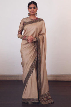 Fancy Thread Work Chinon Silk with Long Sleeve Floral Blouse Special Occasion Wear Saree
