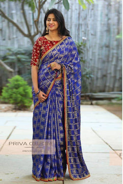 Wedding Sangeet Wear Saree in Winsome Blue voilet Banglori Silk