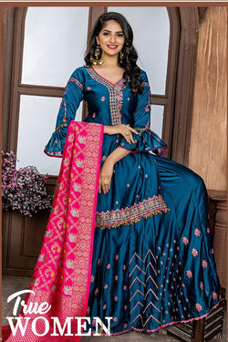 Evening Party Wear Plazzo Suit in Winsome Morpich Rangoli Silk