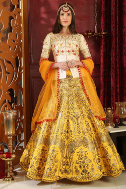 Jacquard Silk Wedding Wear Lehenga Choli in Winsome Yellow