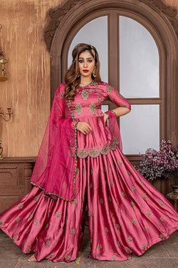 Bridal Ethnic Special Pink Malai Satin Silk Suit