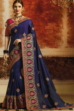 Rangoli Silk Thread Embroidery Work Wedding Wear Saree