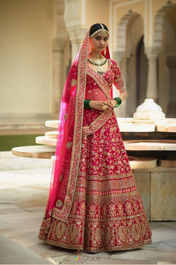 Banarasi Silk Wedding Wear Lehenga Choli in Special Lotus Pink