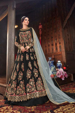 Anarkali stylish Wedding Wear Indo Western Suit in Zade Black Bride Net