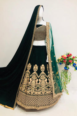 Wedding Ceremony Wear Thread Embroidery Work Pure Velvet Royal Lehenga Special From Bridal Ethnic