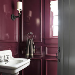 Powder room accent walls: the wall behind the vanity is the best choice.