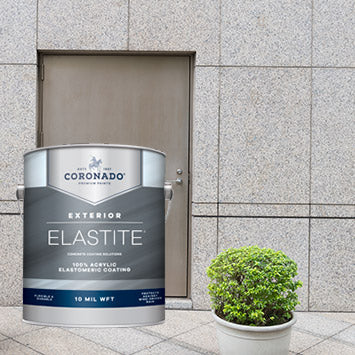 Front door of a concrete building, with an overlay image of a gallon of Coronado Elastite Elastomeric Coating.