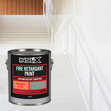 An empty white stairwell in a commercial building, with an overlay image of a gallon of Insl-X Fire Retardant Paint.