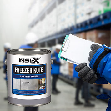 A warehouse freezer room, with an overlay image of a gallon of Insl-X Freezer Jote coating.