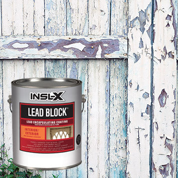 An old barn door painted with white lead paint that is peeling off, with an overlay image of a gallon of Insl-X Lead Block coating.